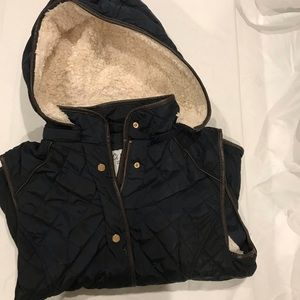 Navy Blue and Brown Leather Vest